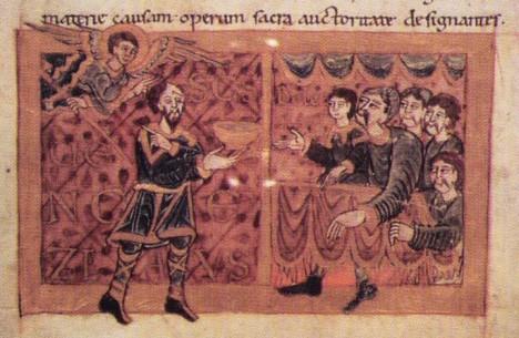 Český kníže Boleslav I. (vlevo) stvrdí spojenectví s Poláky sňatkem své dcery.