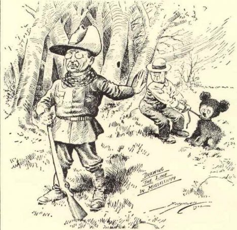 This political cartoon by Clifford Berryman's depicts President Theodore Roosevelt's bear hunting trip to Mississippi. The cartoon gave the 'Teddy' Bear it's name. It was published in the Washington Post in 1902.