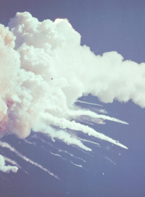 The intact crew cabin was seen exiting the cloud by a tracking camera after its trajectory carried it across an adjacent contrail.