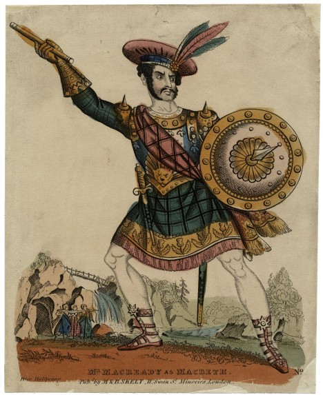 A print of William Charles Macready playing Macbeth, from a mid-19th century performance
