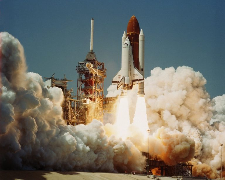 Space Transportation System Number 6, Orbiter Challenger, lifts off from Pad 39A carrying astronauts Paul J. Weitz, Koral J. Bobko, Donald H. Peterson and  Dr. Story Musgrave.
