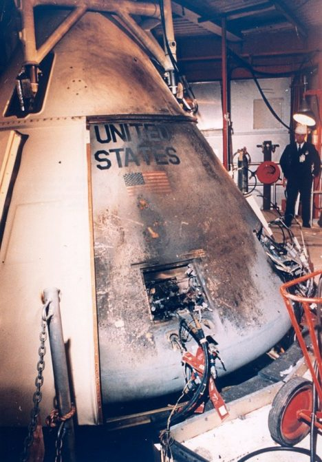 Exterior view of the Apollo 204 spacecraft after the fire, which killed astronauts Grissom, White and Chaffee on Jan. 27, 1967