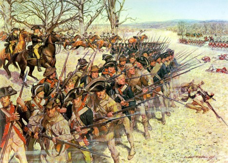 Battle of Guilford Courthouse, 15 March 1781. General Nathaniel Greene observed as the veteran en:1st Maryland Regiment threw back a British attack and countered with a bayonet charge. As they reformed their line, William Washington's Light Dragoons raced by to rescue raw troops of the en:5th Maryland Regiment who had buckled under a furious assault of British Grenadiers and Guards.]