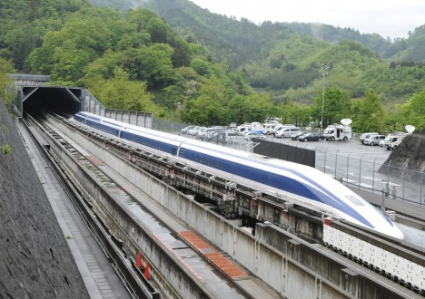 (FILES) This file picture taken on May 11, 2010 shows the Maglev (magnetic levitation) train on the experimental track in Tsuru, 100km west of Tokyo.  Japan's state-of-the-art maglev train set a world speed record on April 21, 2015 in a test run near Mount Fuji, clocking more than 600 kilometres (373 miles) an hour.     AFP PHOTO / FILES / Toru YAMANAKA