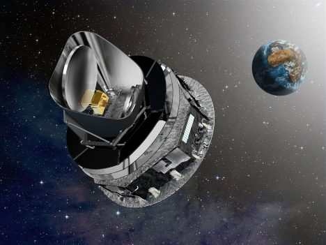 Planck will be launched in tandem with another ESA mission, Herschel, on board an Ariane 5 ECA rocket from Europe?s spaceport in Kourou, French Guyana. The two spacecraft will separate soon after launch and head into different orbits around the 2nd Lagrangian point, or L2. This is a point in space situated at about 1.5 million km from Earth in the opposite direction from the Sun. On reaching the L2 point Planck will be injected into a Lissajous orbit (an example of orbit that winds around a torus and never closes on itself) using the onboard thrusters. Credits: ESA ? D. Ducros