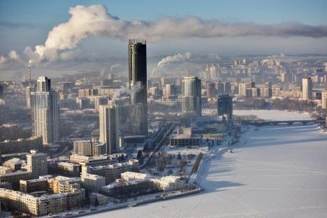 Aerial view to the central part of Yekaterinburg, Russia in a winter day