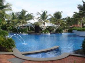 Hotel swimming pool at GRT Temple Bay Resorts,  Mahabalipuram