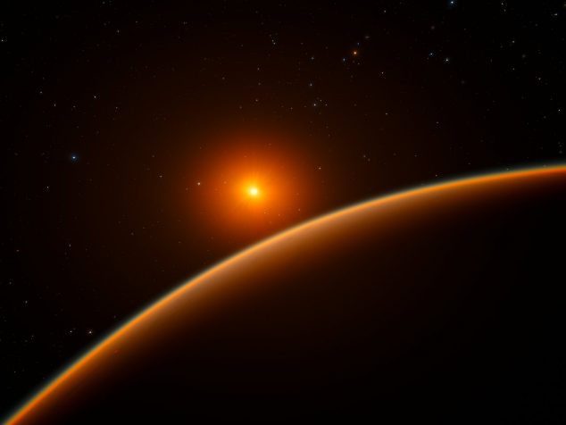"This artist's impression shows the exoplanet LHS 1140b, which orbits a red dwarf star 40 light-years from Earth and may be the new holder of the title ""best place to look for signs of life beyond the Solar System"". Using ESO's HARPS instrument at La Silla, and other telescopes around the world, an international team of astronomers discovered this super-Earth orbiting in the habitable zone around the faint star LHS 1140. This world is a little larger and much more massive than the Earth and has likely retained most of its atmosphere."
