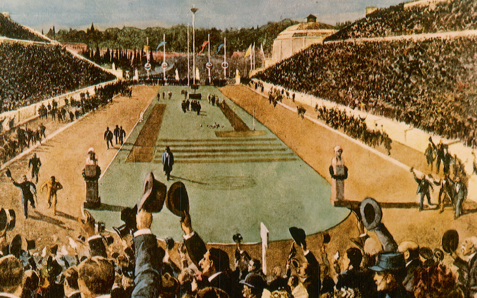 Apr 1896:  A painting shows Spiridon Louis of Greece winning the first Olympic marathon in 1896.  It was the culmination of a triumph for the Greek hosts that one of their countrymen in running from the village of Marathon along the coast from Athens shouldachieve victory.  Mandatory Credit: IOC/Allsport