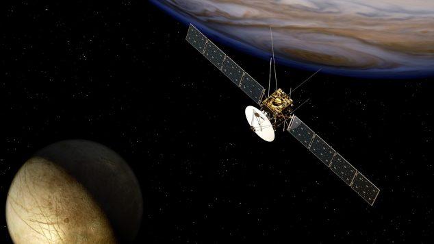 1 - Představa sondy Juice u planety Jupiter a měsíce Europa