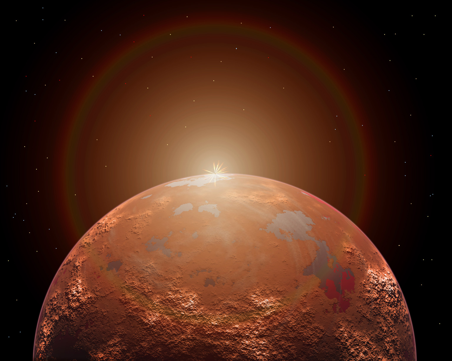 Artist's concept of a distant red planet orbiting its Sun. This alien world shows definite signs of water, and therefore maybe life itself.