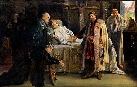 Na smrtelném loži děkuje Ladislav Pohrobek Jiřímu z Podběrad. Ve skutečnosti ho ale chtěl odstavit od moci.