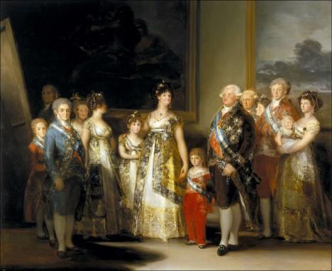 Rodina Karla IV. Španělského na malířově portrétu.Podle slov kritika tu vypadá jako kdyby právě vyhrála v loterii.