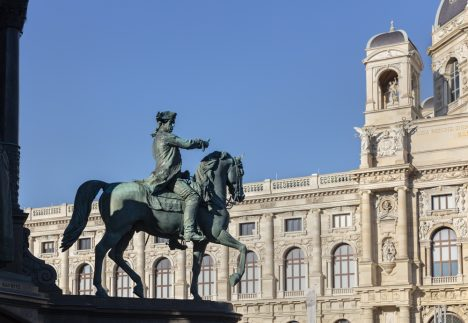 Cortyn VIENNA, AUSTRIA - NOVEMBER 24,2015: Equestrian statue of field marshal Laudon on Empress Maria Theresia monument in front of Natural History Museum in Vienna