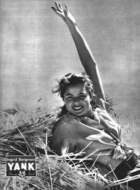 Na pohlednice se nechá fotit i slavná herečka Ingrid Bergmanová.