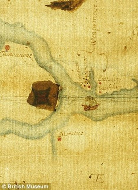 The map (left) of Roanoke Island in North America drawn by John White during an attempt to create England's first colony reveals a hidden possible location for the settlement when it was illuminated from underneath (right) in recent tests. The colony disappeared in mysterious circumstances in the 1580s Read more: http://www.dailymail.co.uk/sciencetech/article-2520795/What-happened-lost-colony-Roanoke-Island-Remote-sensing-unearths-clues-400-year-old-American-mystery.html#ixzz4XuMAaUcZ Follow us: @MailOnline on Twitter | DailyMail on Facebook