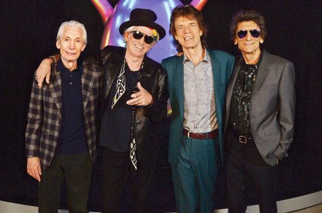 LONDON, ENGLAND - APRIL 04: (L-R) Charlie Watts, Keith Richards, Mick Jagger and Ronnie Wood of The Rolling Stones pose for a photo during a preview of 'The Rolling Stones: Exhibitionism' at Saatchi Gallery on April 4, 2016 in London, England. Pic. Credit: Dave J Hogan