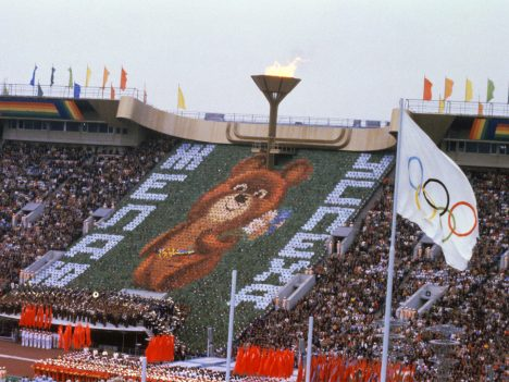 Photo of the Olympic Games' mascot Misha-bear, 19 July 1980 in Lenin Stadium Moscow, wishing everyone good luck at the opening ceremony of the 1980 Olympic Games, hosted by the USSR. (Photo credit should read -/AFP/Getty Images)