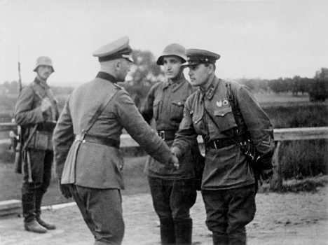 German and Soviet troops meet at the demarcation line. Poland, September 1939