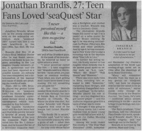 Foto: Tragické osudy dětských hvězd: Jak skončil Jonathan Brandis?