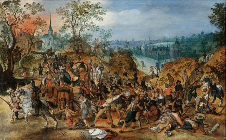 800px-Sebastiaan_Vrancx_(studio)_-_A_landscape_with_travellers_ambushed_outside_a_small_town