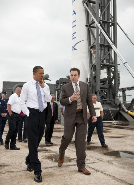 President Barack Obama tours the commercial rocket processing facility of Space Exploration Technologies, known as SpaceX, along with Elon Musk, SpaceX CEO at Cape Canaveral Air Force Station, Cape Canaveral, Fla. on Thursday, April 15, 2010. Obama also visited the NASA Kennedy Space Center to deliver remarks on the bold new course the administration is charting to maintain U.S. leadership in human space flight. Photo Credit: NASA/Bill Ingalls NASA Identifier: 201004150013HQ