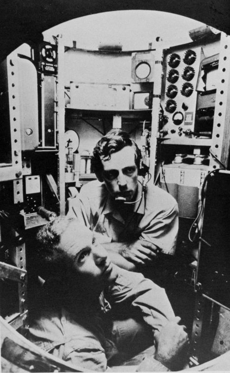 Don Walsh and Jacques Piccard inside Trieste Lieutenant Don Walsh, USN, and Jacques Piccard in the bathyscaphe TRIESTE. Location: Marianas Trench Photo Date: 1960