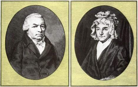 Beethovenovi rodiče, zleva otec Johann a matka Marie Magdalena. Johann je věčně opilý a svého syna bije.