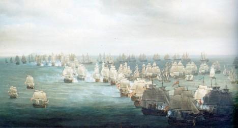 Bitva u Trafalgaru 21. října 1805 ve 13.00 hodin. Za další tři a půl hodiny už bude po všem.