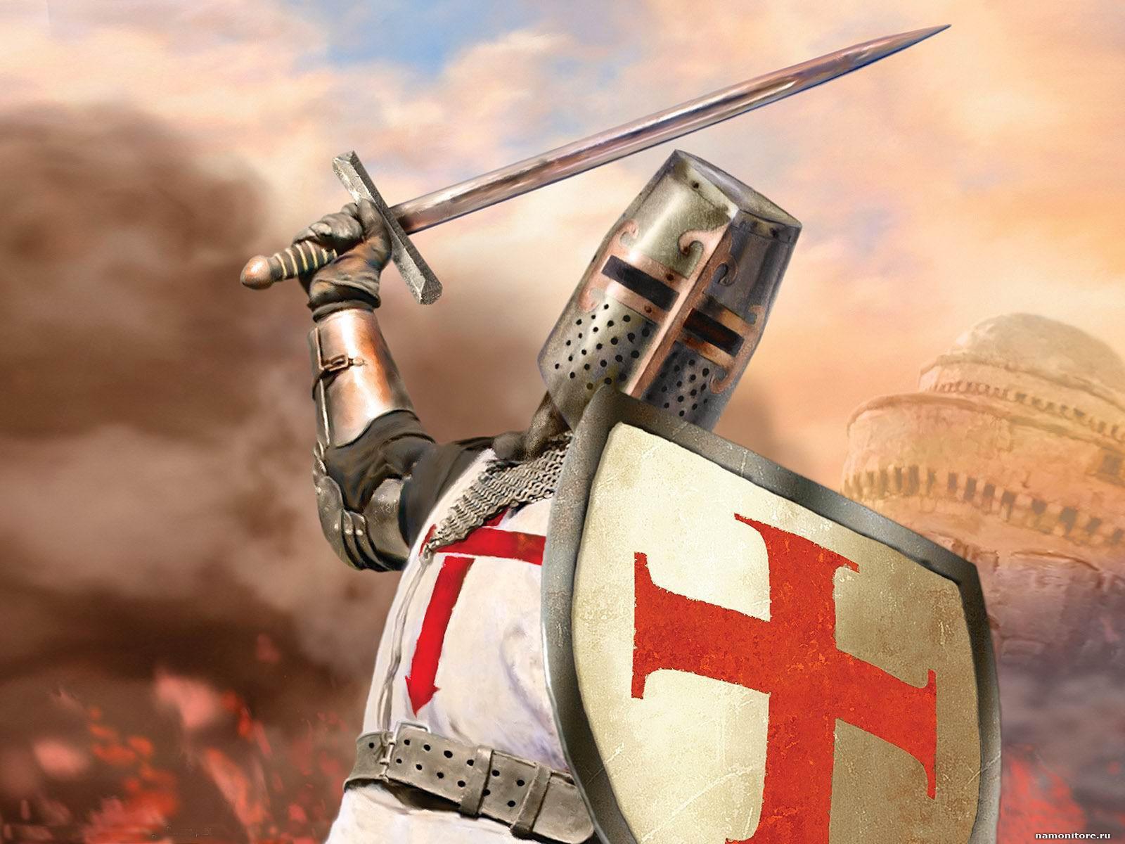 Bojovníci vyrážejí do boje s velkým znamením kříže na své zbroji.