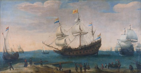 The 'Mauritius' and other East Indiamen *oil on canvas *104 × 199 cm *signed c.: Vroom *ca. 1600 - ca. 1630