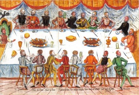Ferdinandova korunovační hostina, když se roku 1556 stává římským císařem. S Čechy si bohužel nikdy neporozumí.