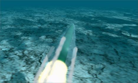 Počítačová animace ukazuje efekt superkavitace, při vysokých rychlostech se ve vodě kolem předmětu vytvoří plynová kapsa.