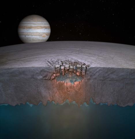 Europa je pokrytá ledem, pod kterým se nacházejí obrovské oceány vody. Právě tam by mohl být život.