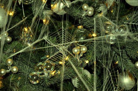 Na Ukrajině zdobí stromeček pavučinami a pavouky. Podle pověsti totiž kdysi žila žena, která neměla peníze na vánoční ozdoby. Když oVánocích děti ráno vstaly, byl místo toho stromeček pokrytý pavučinami. Jakmile na něj dopadlo první světlo, pavučiny se proměnily ve zlato astříbro.