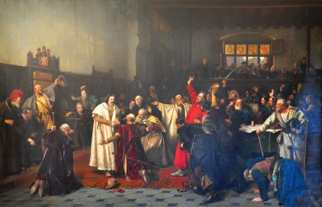 Husitský král Jiří z Poděbrad (uprostřed v bílém) nechává po sobě dluhy.