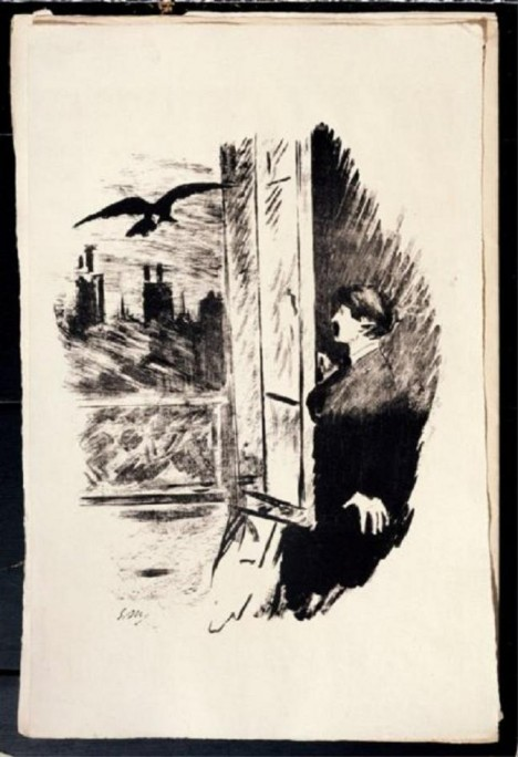 Ilustrace ke slavné Poeově básni Havran od malíře Edouarda Maneta. Ani literární úspěch nedokáže zklidnit Poeův životní styl.