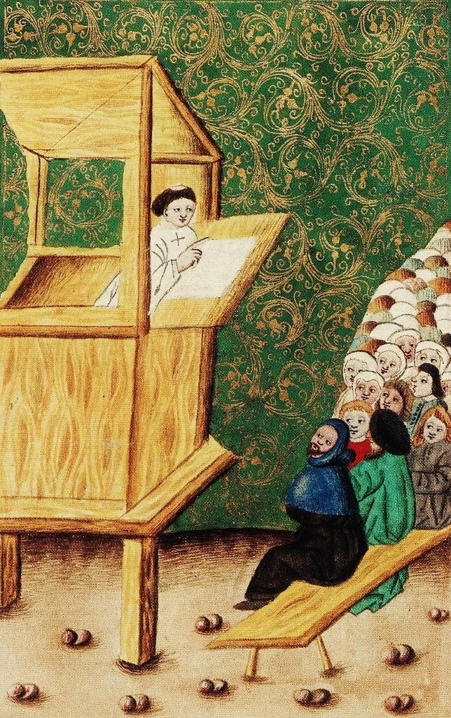 Jan Hus káže. Mezi jeho vděčným obecenstvem najdeme  i mnoho žen.