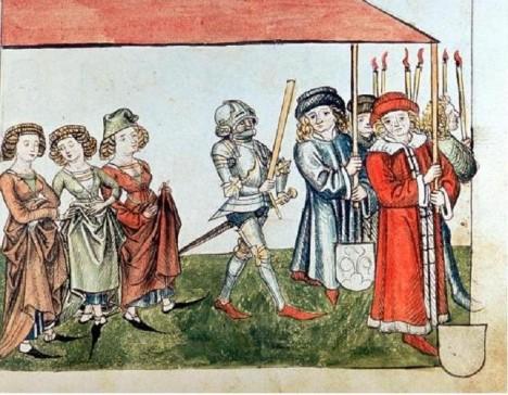 Král Zikmund a jeho žena Barbora Celjská na koncilu v Kostnici roku 1415. Ve své době platili za jeden z nejhezčích párů Evropy.