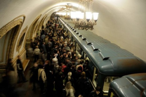 The crowd in Metro Moscow