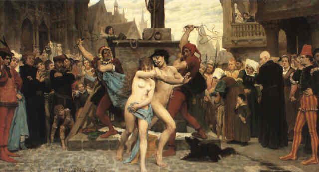 Na trestání cizoložníků se chodilo dívat celé město.