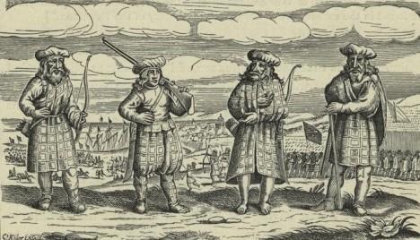 Obrázek z přistání Skotů v přístavu ve Štětíně pochází z roku 1630 nebo 1631. Považuje se za nejstarší zobrazení předchůdce kostkované sukně.