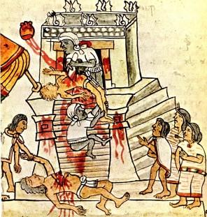 Při krvavém rituálu vytrhávají Aztékové srdce z těla oběti.
