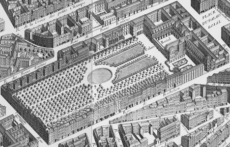 Palais Royal je obklopený zahradami, které se prý během francouzské revoluce staly rájem prostitutek.
