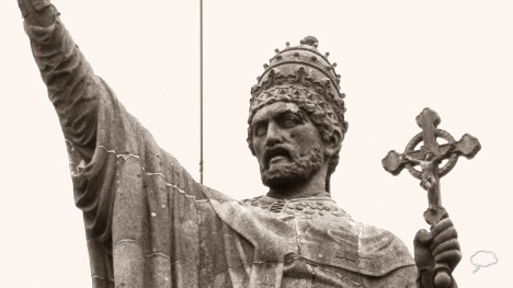 Papež Urban II. burcuje věřící křesťany k boji za Svatou zemi.