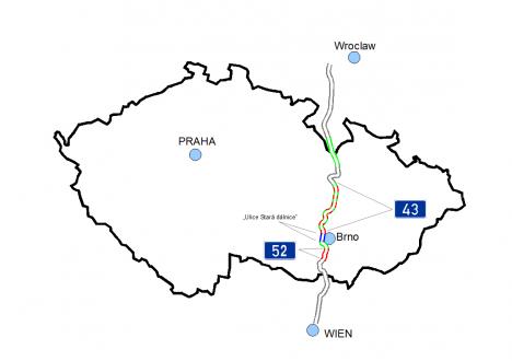 Plán, kudy měla probíhat Hitlerova dálnice spojující rakouskou Vídeň s polskou Vratislaví.