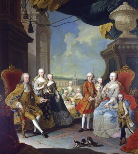 Rodinný portrét s manželem Františkem Štěpánem Lotrinským s jejich potomky. Dětem věnují  nezvykle mnoho času.