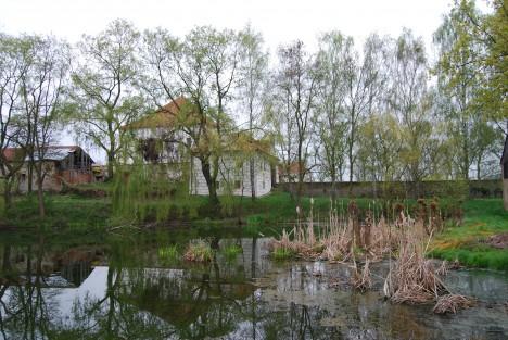 Rybník Návesník v Křepenicích, v pozadí tvrz. Lidé Krčína podezírali, že se kvůli její stavbě spolčil s ďáblem.