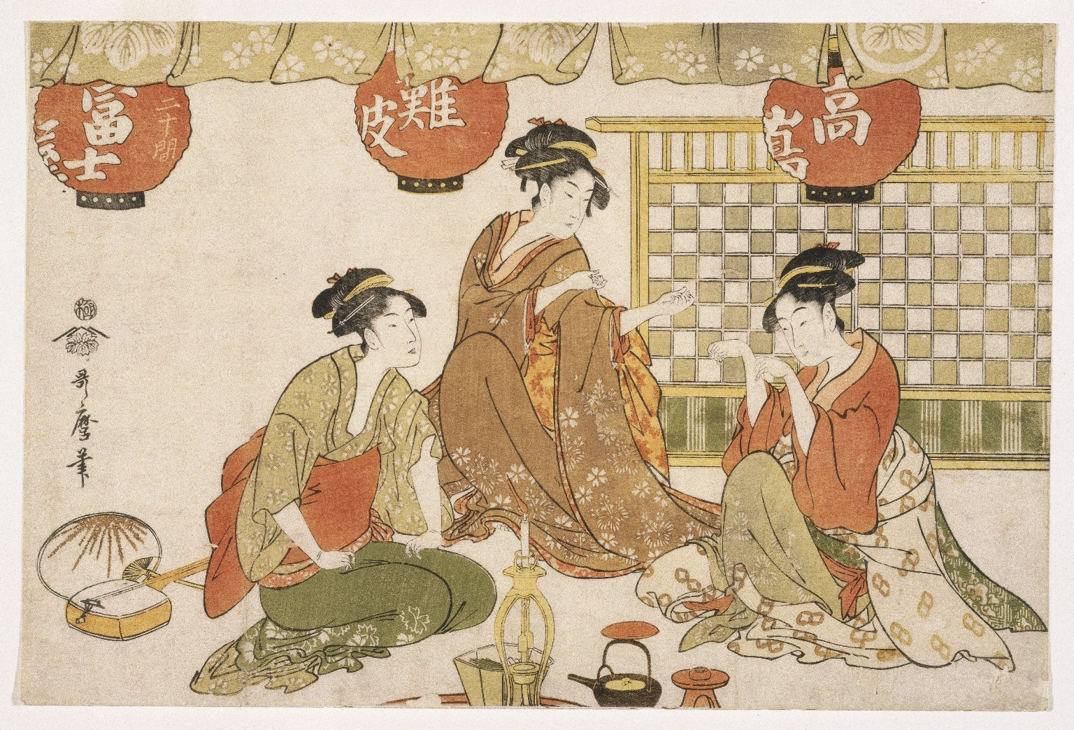 Three Seated Ladies with Lanterns, Tea Pot_