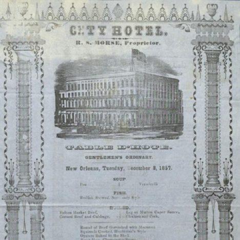V polovině 19. století už je tištěné menu v restauracích samozřejmostí. To na obrázku pochází z hotelu v americkém New Orleans.
